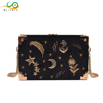 MLITDIS Shoulder Bags Women Evening Clutches Bags Ladies Flower Wedding Bag Day Purse Female Party Clutch Star Moon Decoration
