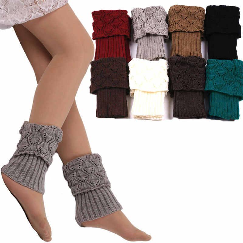 Awaytr 2019 ขายร้อนผู้หญิงฤดูหนาวขาอุ่น Acrylon ขนสัตว์ถักโครเชต์ถุงเท้าถัก Boot Toppers Cuffs