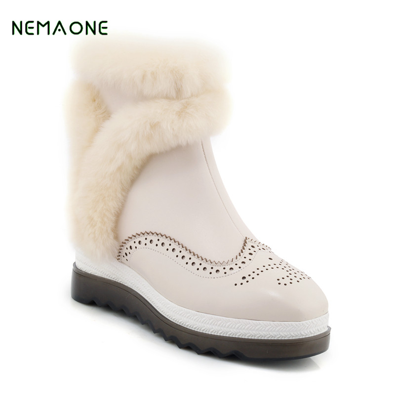 NEMAONE Fashion Top Quality Raccoon fur Snow Boots Women Boots Genuine Leather Winter Warm Snow Boots Ankle Boots Free Shipping подвесной светильник lussole loft lsp 9543