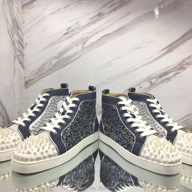 f83ef0b1a01f clandgz high heel shoes blue denim Lace-up Blingbling diamond Messy Rivets  Shoes Red bottom Sneakers leather casual shoes 2018