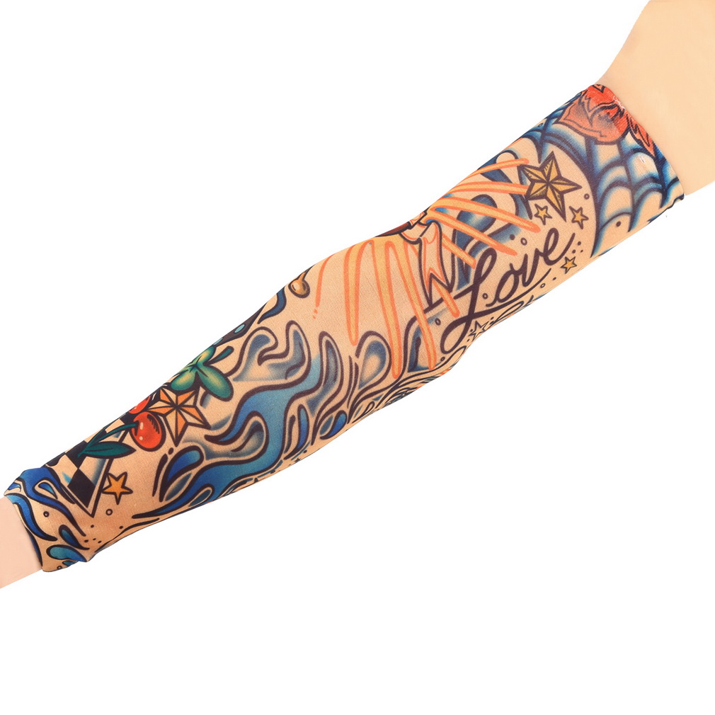 2pcs Fake Tattoo Elastic Arm Sleeve Arm Stockings Sport Skins Sun Protective For Cool Men Women Hot Selling Style Random 0008