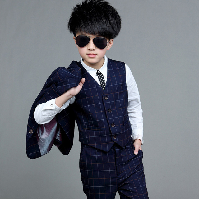 e4ad935a68 Children s ClothesThree-piece Suit Cool Pant+Vest+Coat Performance Wear  Western Spring Autumn Formal Kids Baby Boys Clothes Set