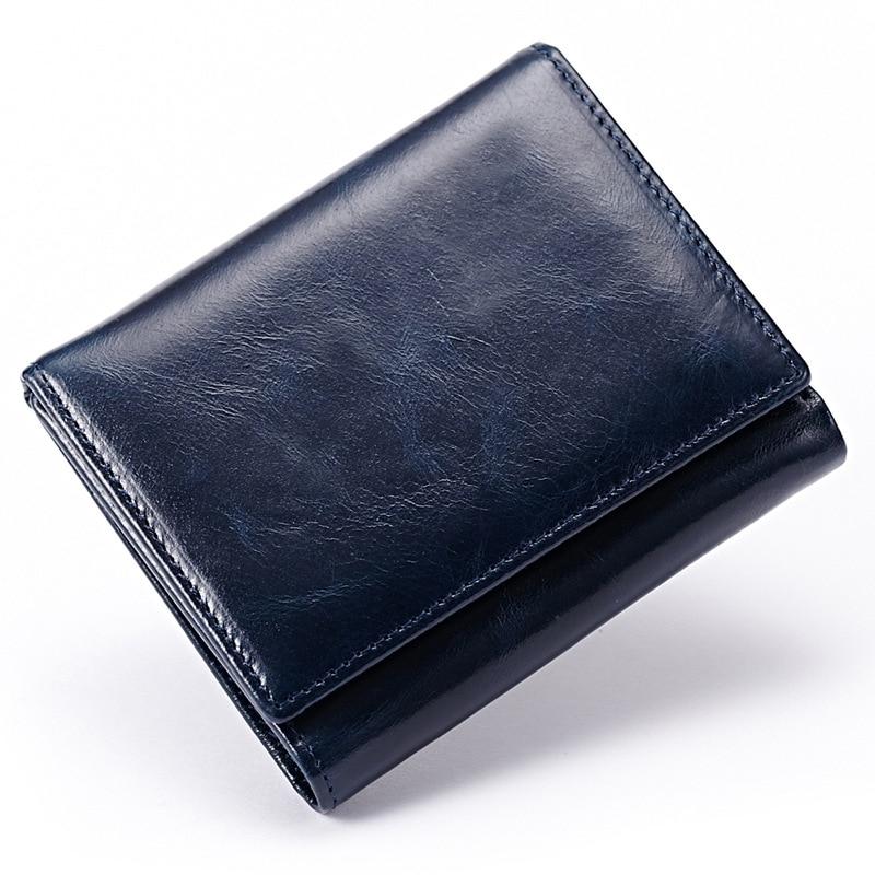 New Oil Wax Leather Women/Men Purse Short Vintage Women Wallets Genuine Leather Designer Brand Unisex Card Holder Purse