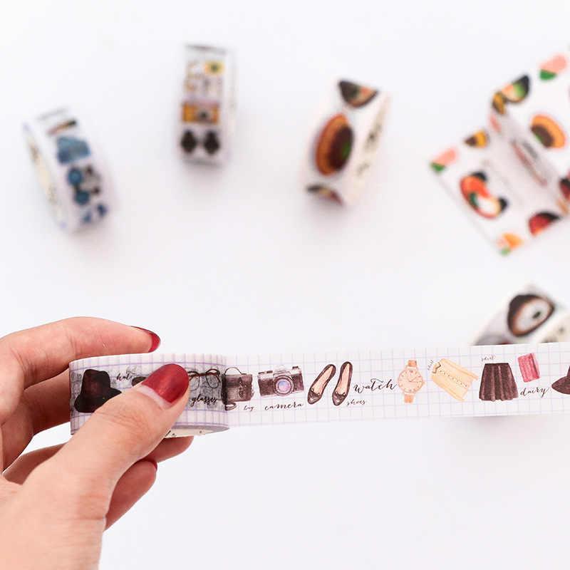 1 piezas el zorro rojo mano cuenta álbum de agua decorativa Color Washi Oficina cinta adhesiva cinta de papelería de la etiqueta engomada