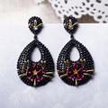 Fuchsia Crystal CZ Earring Plated in Black/Gold High Grade Water Drop shape earrings