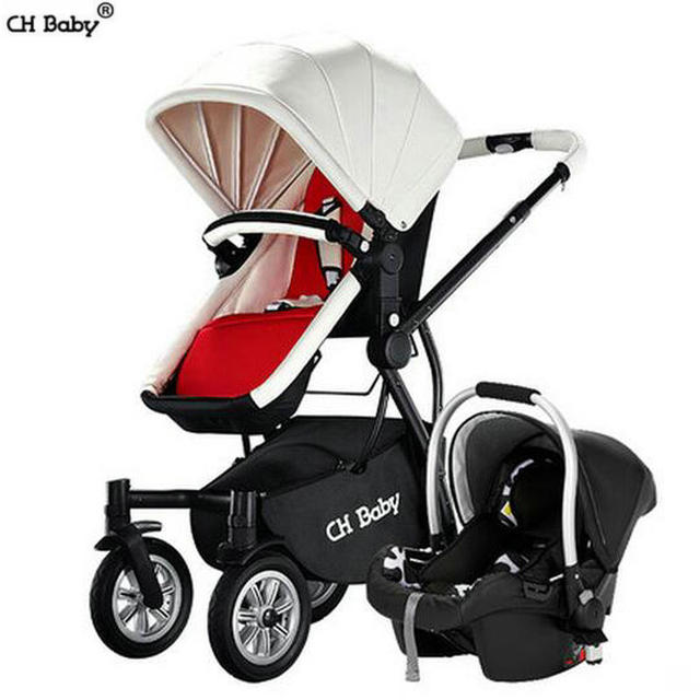 CH baby stroller and baby bassinet 2 in 1 baby pram baby car safe cradle Aluminum alloy frame and 12 inch PU wheel