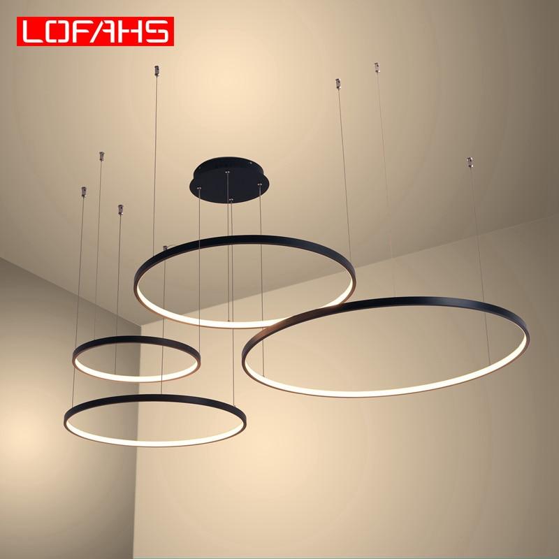 New Modern Led Chandelier For Living Room Bedroom Dining Room Aluminum Ring Indoor Pendant Chandelier Lamp Lighting Fixtur