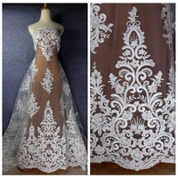 La Belleza Off/pure white rayon sequins Cord super heavy embroidery fabric wedding dress lace fabric 51'' width 1 yard