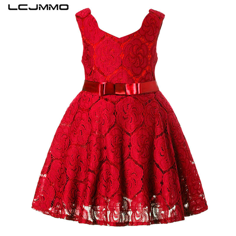 LCJMMO Red Spring Summer Girl Lace Dress 2018 Kids Dresses For Girls Princess Party Wedding Sleeveless Baby Girl Dress Clothes children girls dress summer lace sleeveless holiday party wedding princess a line dresses girl clothes vestido infantil 2968w