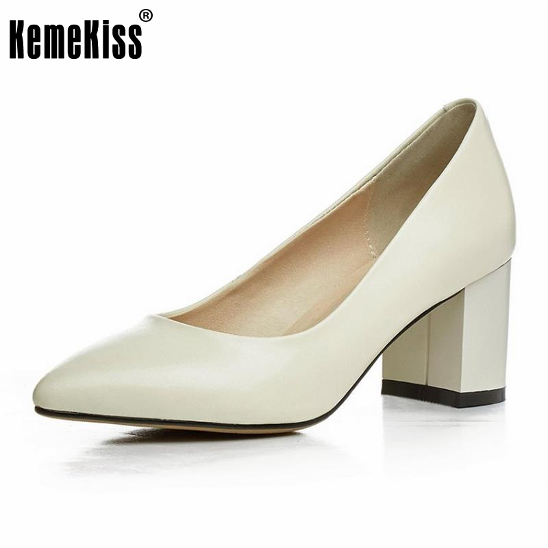 KemeKiss Ladies Genuine Leahter High Heel Shoes Women Pointed Toe Solid Color Thick Heels Pumps Office Daily Footwear Size 33-40 kemekiss size 33 42 women s high heel wedge shoes women cross strap platform pumps round toe casual mixed color ladies footwear