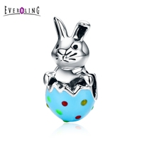 Everbling Easter Bunny Kolorowe Emalia Królik 100% 925 Sterling Silver Charm Koraliki Pasuje Europejskiej Charms Bransoletka