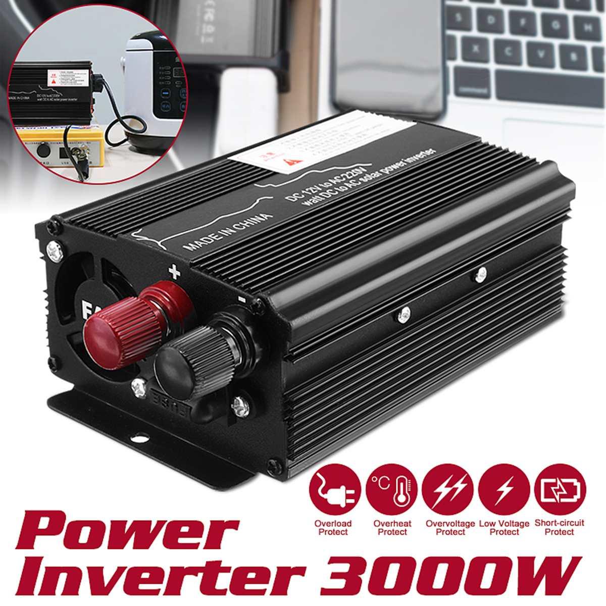 Автомобильный солнечный инвертор 12 В 220 в 3000 Вт P eak, автомобильный инвертор, преобразователь напряжения, преобразователь синусоидальной волны для автомобиля, грузовика|Инверторы для авто|   | АлиЭкспресс