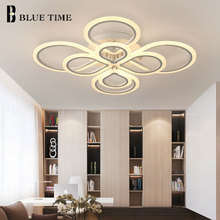 White&Black Rings Modern LED Chandelier Lustre For Living Room Bedroom Dining room Acrylic Simple Ceiling Lighting