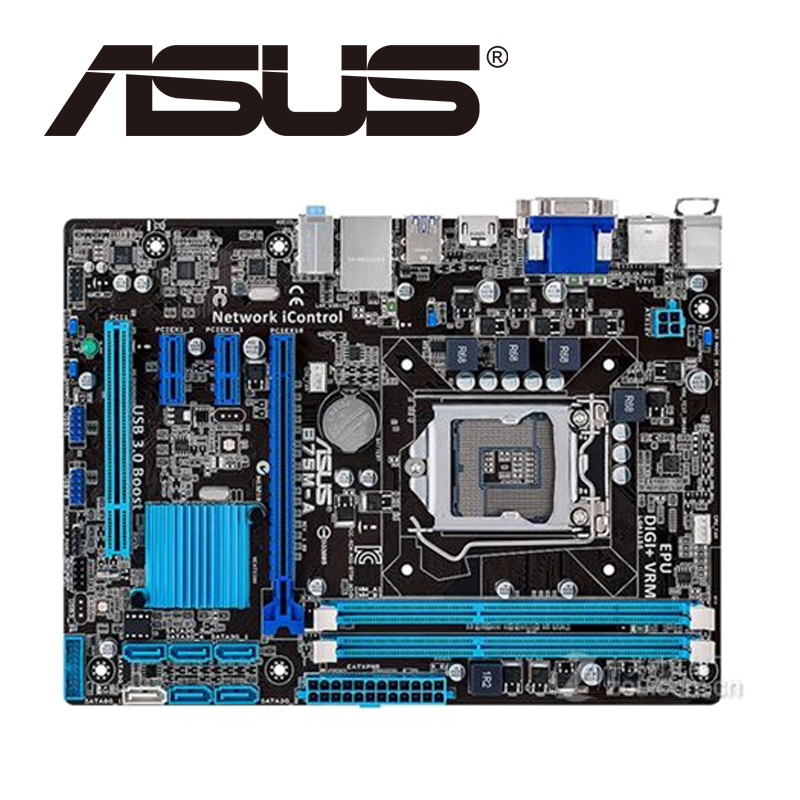 Asus B75M-A Desktop Motherboard B75 Socket LGA 1155 i3 i5 i7 DDR3 16G uATX UEFI BIOS Original Used Mainboard On Sale asus p8z77 m desktop motherboard z77 socket lga 1155 i3 i5 i7 ddr3 32g uatx uefi bios original used mainboard on sale