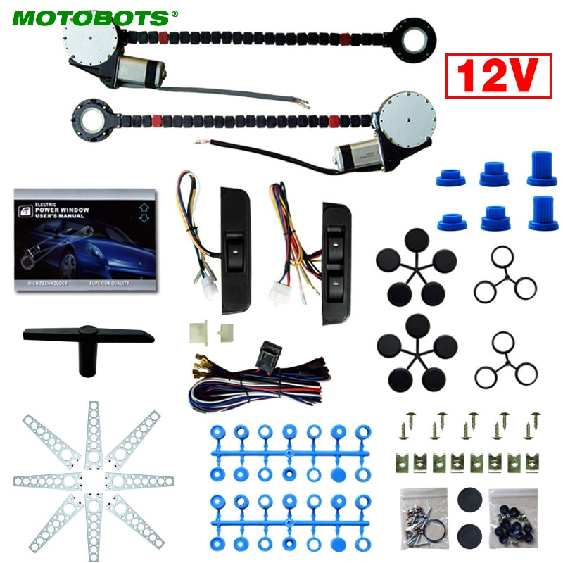 MOTOBOTS 12V Car Universal 2-Doors Electric Power Window Kits With 3pcs/Set Moom Switches #AM4419