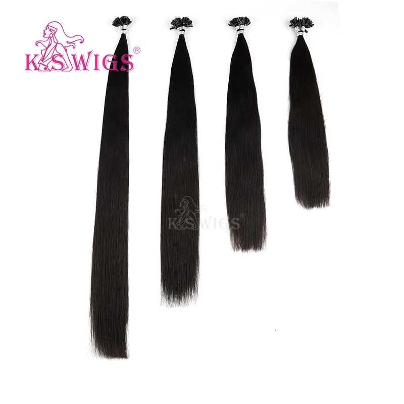K.S парики 16 ''20'' 24 ''28'' прямые предварительно скрепленные волосы Remy кератиновые капсулы для ногтей u-кончик человеческих волос для наращивания 25 шт/упаковка