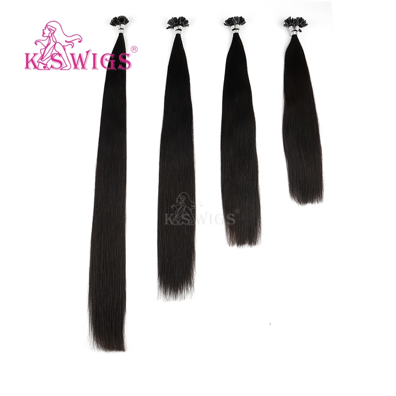 Image 5 - K.S WIGS 16 20 24 28 Straight Pre Bonded Fusion Hair Remy Keratin Capsules Nail U Tip Human Hair Extensions 25s/packNail/U Tip   -