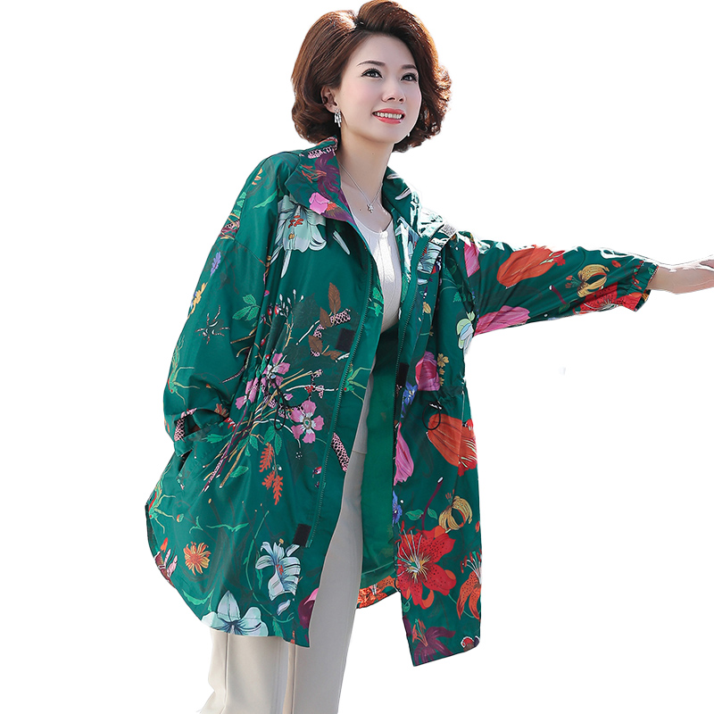 Spring Autumn Women Jacket Plus Size L 4XL Hooded Long Sleeve Lightweight Waterproof Long Print Overcoat