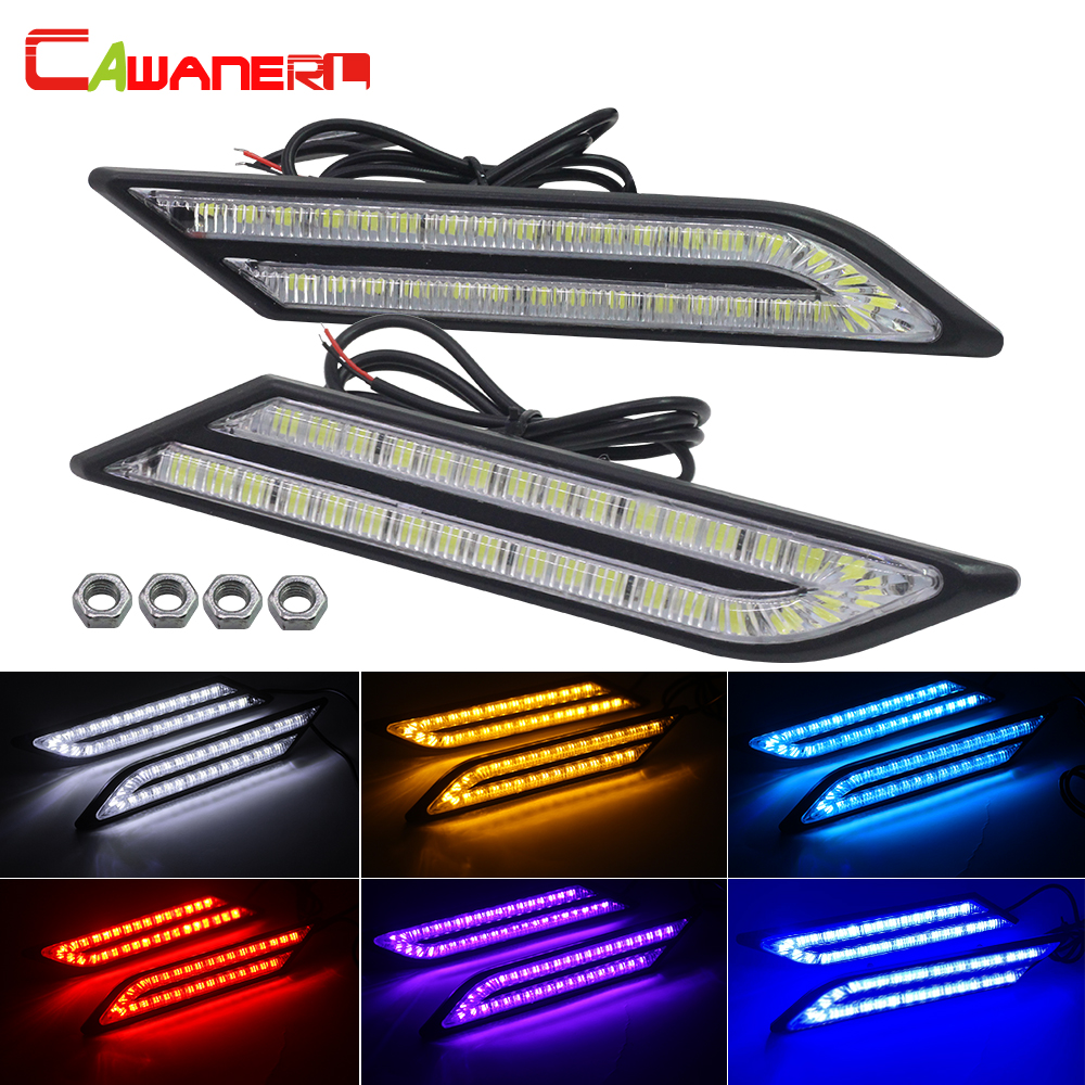 Cawanerl 2 Pieces Car LED Daytime Running Light DRL Fog Lamp 33 LED Beads 5630 SMD 12V Waterproof White Blue Yellow Red Purple h1 super bright white high power 10 smd 5630 auto led car fog signal turn light driving drl bulb lamp 12v