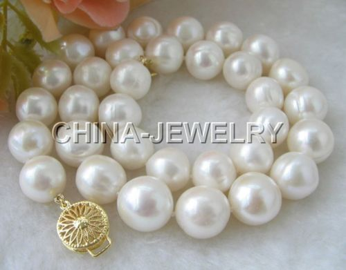 fast Huge 17 12-14mm white round freshwater pearl necklace-gold clasp NEW