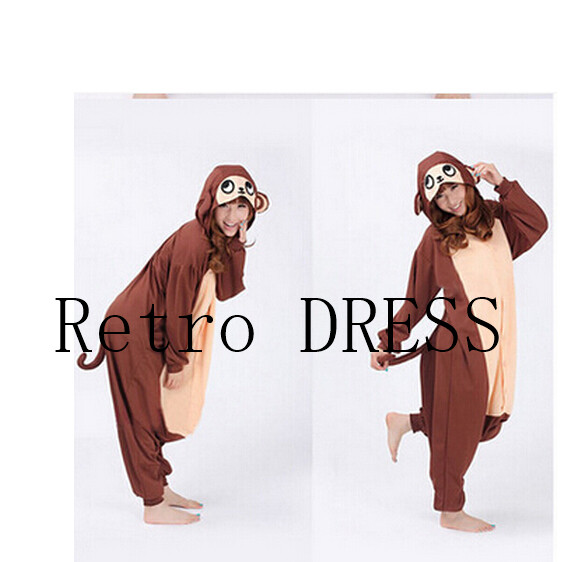 gratuit Finnal adulte mignon Anime Onesie capuche singe babouin Pyjamas Cosplay Animal Halloween Costume danimal de nuit