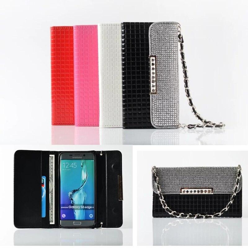 imágenes para Voltear lujo Cartera de la Caja Del Teléfono Bolsa de Cuero para Samsung Galaxy S7 S7 Edge Bling Diamante Cadena Bolso Ranura Para Tarjeta de la Cubierta Fundas Coque