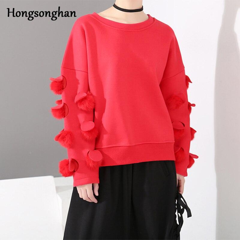 Hongsonghan 2018 thicken velvet hoodies Korean women's wear autumn winter round collar hoodies Chic ball long sleeve sweatshirts