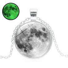 2018 New Hot Glowing in the Dark Galaxy Moon Pendant Necklace For Women Jewelry Luminous Necklace Vintage Silver Color Chain(China)