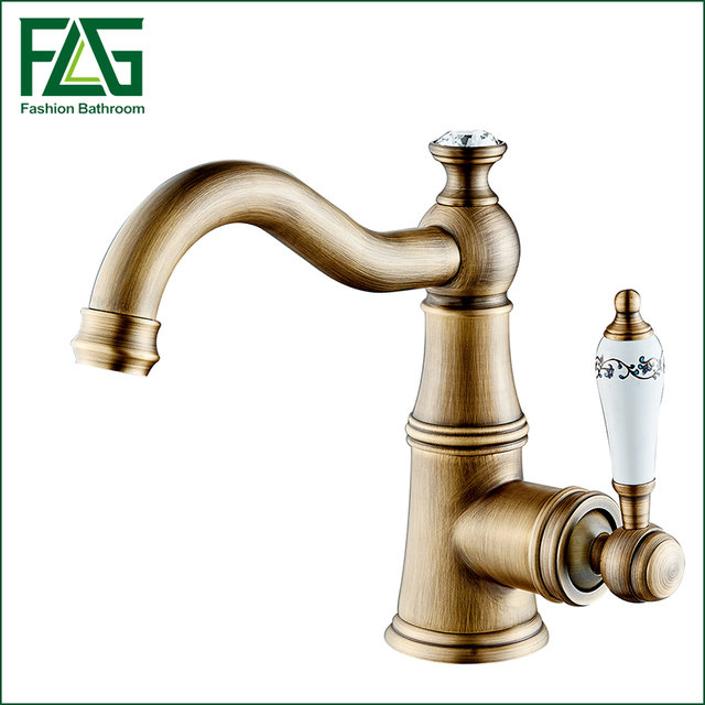 Free Shipping Contemporary Concise Bathroom Faucet Antique Bronze Finish Br Basin Sink Single Handle Water