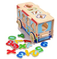 Candice Guo Wooden Toy Wood Digital Big Bus Car Number Puzzle Assemble Model Math Shape Match