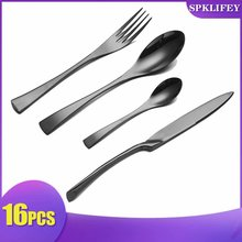 Spklifey Cutlery Stainless Steel Black Set 16pcs Dinnerware Tableware Silverware Sets Dinner Knife and Fork DropShipping