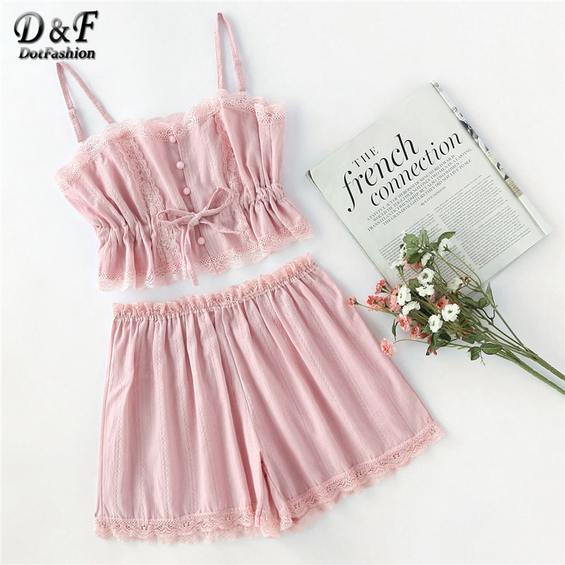 Dotfashion Contrast Lace Cami With Shorts   Pajama     Set   2018 New Summer Button Female Sleepwear Spaghetti Strap Solid   Pajama     Set