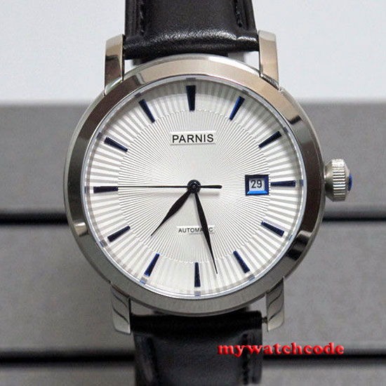 41mm Parnis white dial blue marks date Sapphire miyota Automatic mens watch P554 hair company hc hl hair natural light maschera capelli fini 1000
