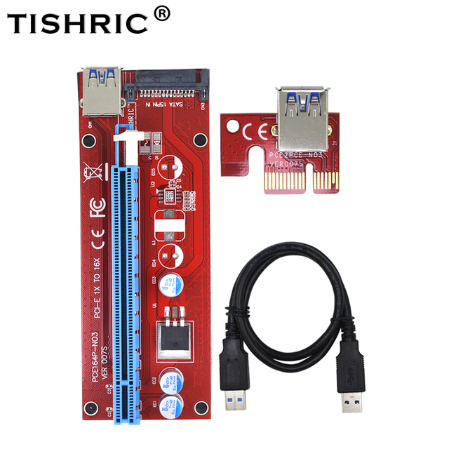 TISHRIC Red VER007S PCI Express PCIE PCI-E Riser Card 007 007S Extender 1x to 16x USB3.0 Cable 15Pin SATA BTC ETH Mining Miner