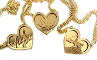 Custom Name Necklace Personalised Gold Acrylic Mirror Name Heart Pendant Necklace For Women Men