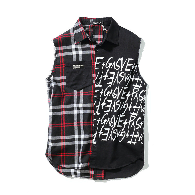Mens Sleeveless Special Shirts Rock Punk Patchwork Crossfit Shirts Hip hop  Streetwear Plaid Letters Printed Harajuku - Compare Prices On Sleeveless Plaid Shirt Men- Online Shopping/Buy
