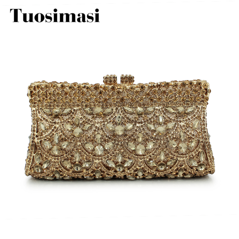 Gift Box GOLD Colors Crystal Metal Clutches Hard Case Bridal Evening Clutch Bag Make Up Box Wedding Rhinestones Handbag Purese