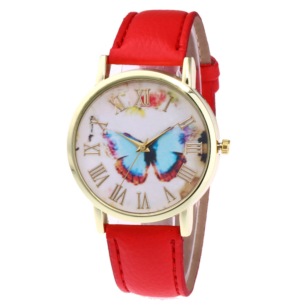 Fashion Womens Quartz Watch Butterfly Style Leather Band