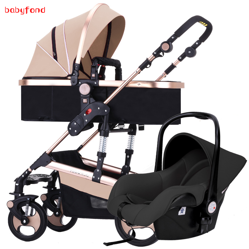 Newborn baby stroller 3 in 1  high landscape can be lying and set easy to folded children's trolley with the car set
