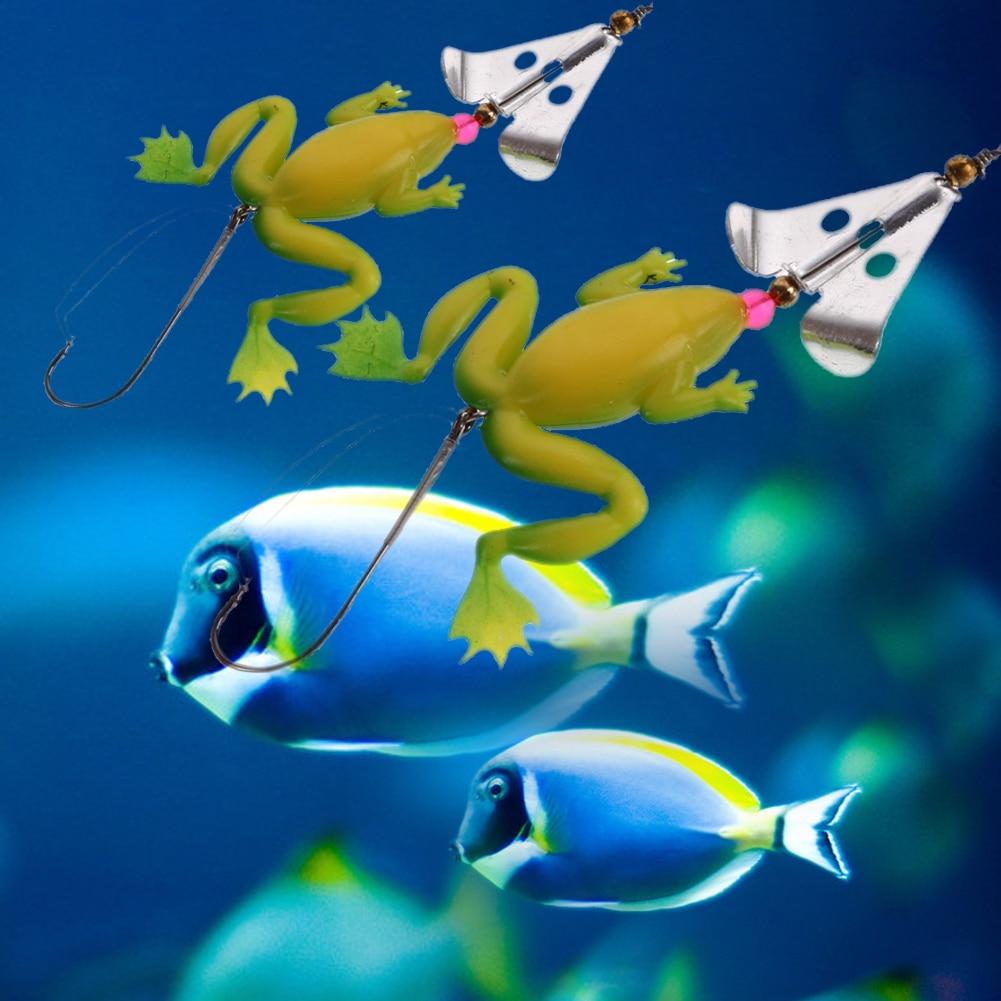 4 pz / lotto All Water Fishing Lure Rana Soft Lure 9 cm 6.2g Esca In - Pesca - Fotografia 4