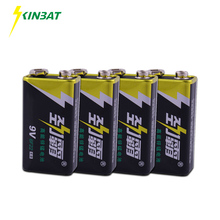 KINBAT 4pcs 9V 6F22 Super Heavy Duty Battery 9 Volt 6F22 High Volume Carbon Zinc Primary Dry Battery For Multimeter Camera Toys