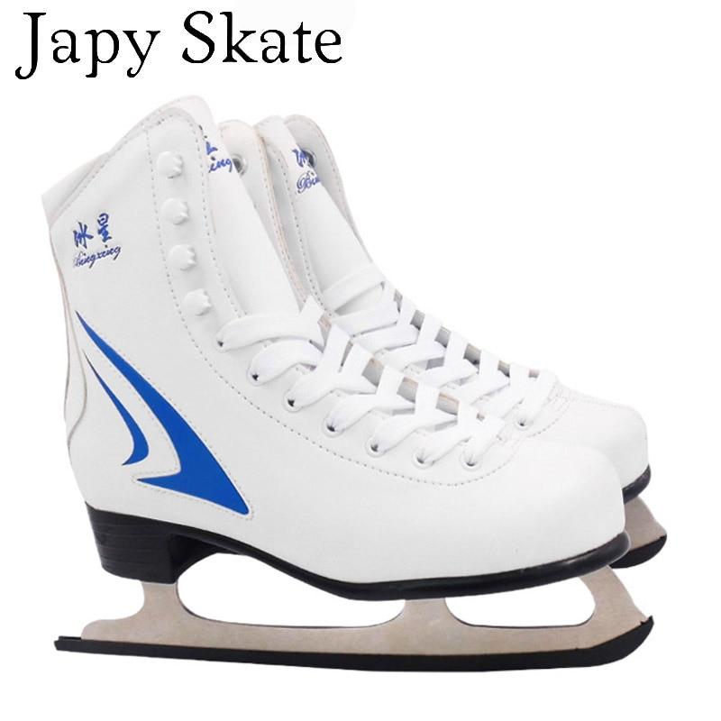Prix pour Jus japy Patin À Glace Astuces Skate Chaussures Adulte Enfant Plus de Velours Patins À glace Professionnel Fleur Couteau Hockey Sur Glace Couteau la Vraie Glace patins