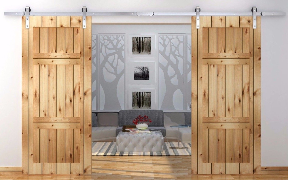 14.4FT Antique country style stainless steel sliding barn door double barn door sliding track kit & High Quality Interior Door Styles-Buy Cheap Interior Door Styles ... Pezcame.Com