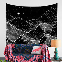 Night Mountain Wave Wall Mandala Tapestry Wall Hanging Hippie Boho Decor Psychedelic Tapestry Throw Wall Cloth Tapestries Carpet(China)