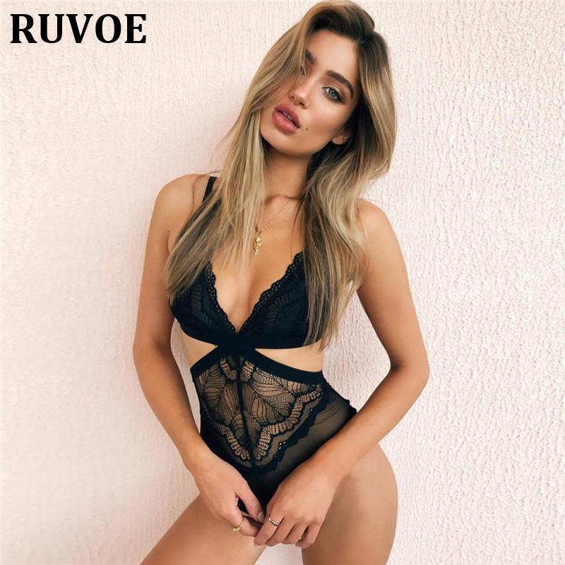 Summer Sexy Women Hollow V-Neck Mesh Lace Patchwork Bodysuit Sexy Women Femme Lace Embroidery floral Sleeveless Bodysuit 2017
