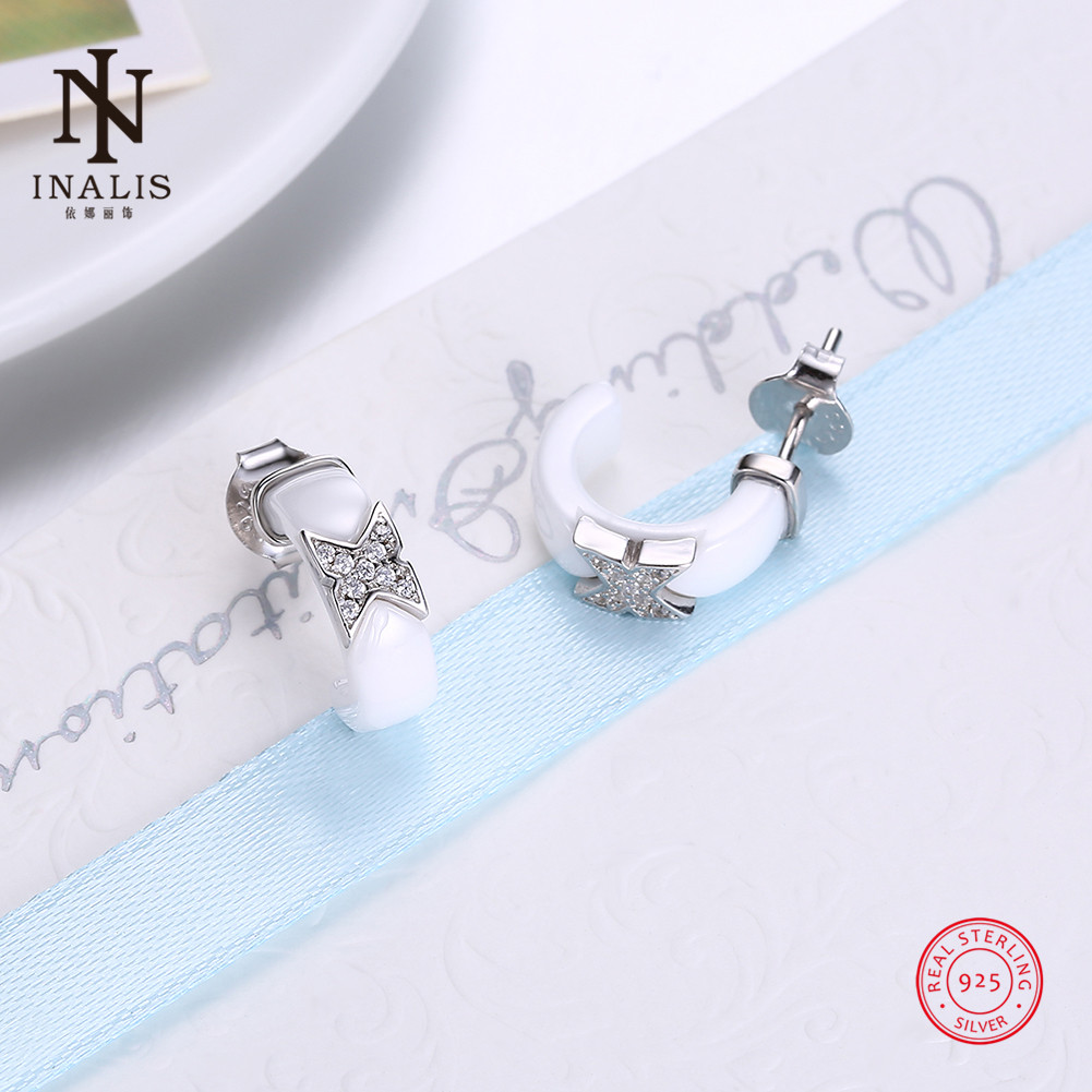 INALIS Silver Ceramic Stud Earrings Fashion Party White Ceramic Earrings For Women Girl Female Jewelry Wedding Gift