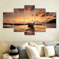 5 Moderno Painel Pintura Cópia Da Lona Seascape Wall Art Imagem Pintura da Arte Da lona Decoração de Casa Modular para Sala de estar No quadro