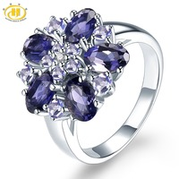 HUTANG Diamond Jewelry Natural Gemstone Iolite Tanzanite Accents Solid 925 Sterling Silver Ring Fine Fashion Stone Jewelry New