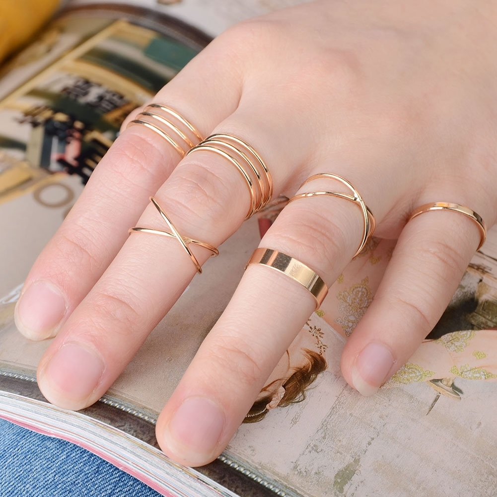 6PCS/Set Gold Color Stack Plain Cross Spiral Above Knuckle Rings for ...