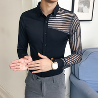 British Style Shirts Mens White Striped Lace Shirts Mens Black Gomlek DJ Stage Costumes Party Wear Shirts For Mens Club Outfits